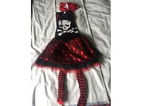 Gothic skeleton dress, tights and head scarf. Age 9-10. Worn once.