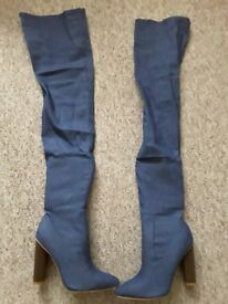 New Over the knee denim heeled boots