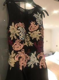 BLACK MIDI SKATER EVENING DRESS SIZE 10
