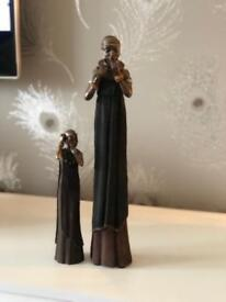African tall woman and child figurines