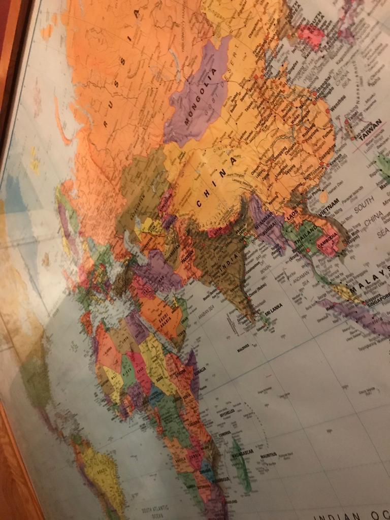 Huge Map Of The World.Huge Map Of The World With Glass Frame In Leith Edinburgh Gumtree