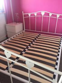 White Hearts Double Bedframe