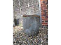 Large metal barrel planter