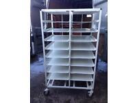 Steel shelves on wheels