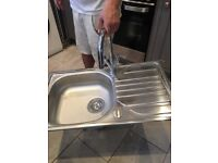Stainless steel kitchen sink and mixer taps - brand new