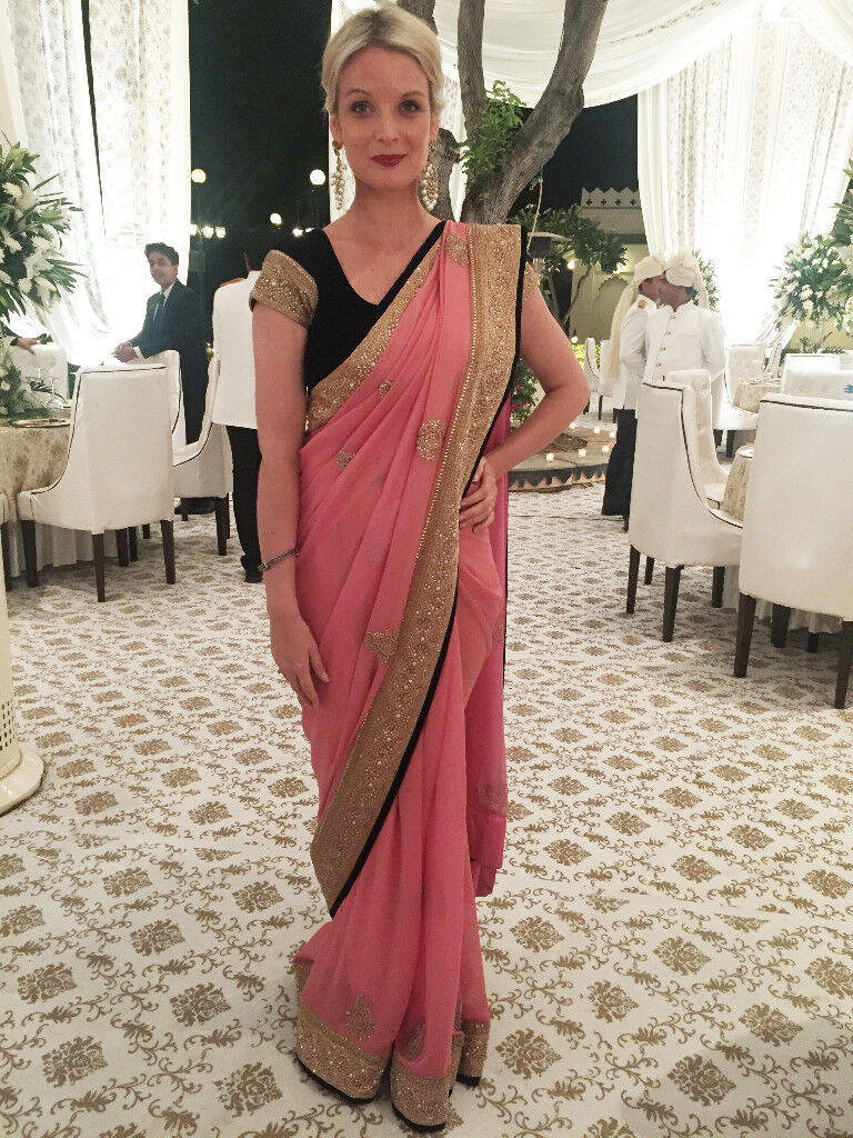 2d784f764f Beautiful and unique Pink Saree Frontier Raas Embroidered | in ...