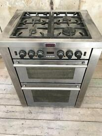 90cm stoves duel fuel range cooker, has 5 gas burners and electric oven/grill.