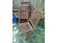 Wooden outdoor chairs x 5