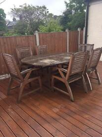 Garden furniture Solid wood 6 seats and table