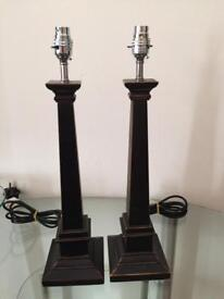 2 Black Wooden Laura Ashley Table lamps