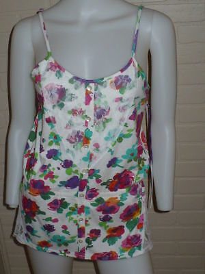 NWT O'NEILL BRIGHT FLOWER FLORAL LACE TUNIC VINTAGE TANK TOP PEPLUM M