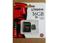 GENUINE KINGSTON 16GB CLASS 10 MICRO SDHC MEMORY CARD WITH SD ADAPTER HC UHS 1