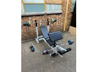 Weight bench with dumbbell rack great condition, ready to use