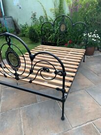 "Victorian Antique Bedstead Double 4'6"" size Cast Iron"