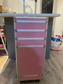 Pink caddy make up nail storage suitcase on wheels