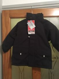 John Lewis Kids Black Padded Waterproof Hooded Jacket Age 3/4 XS New With Tags