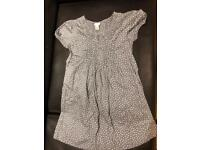 Monsoon Grey and White Girls Cotton Dress age 9-10yrs