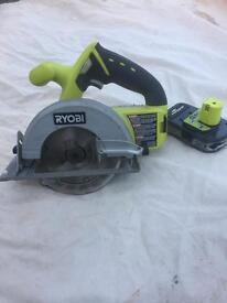 Ryobi One Cordless circular skill saw with battery