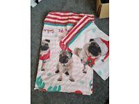 Christmas pug single bedding