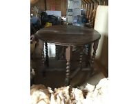 Vintage gate leg table with spiral legs