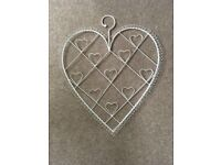 2 x heart design shabby chic photo holders