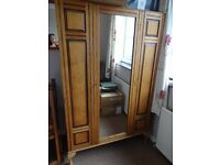 Wardrobe, antique pine with mirror and hooks & original lining.