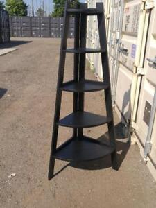 "Oakville Tiered Wood Shelf 64x20"" Corner Black Wooden Pie-shaped Display Ornaments Like new Shelves Shelving Storage"