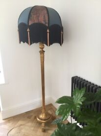 Vintage style standard lamp and shade in good working order
