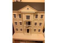 Victorian dolls house with included furniture and ikea table