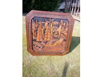 vintage hand carved sailing boat scene coffee table folding