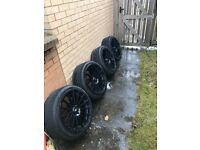 "Wolf race 18"" alloy wheels with tyres. 3 tyres brand new. Alloys have a few scratches."