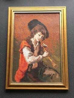 Boy Playing Flute Tapestry