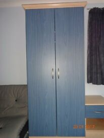 2 DOOR WARDROBE, 3 DRAWER CHEST OF DRAWERS & BEDSIDE TABLE (BLUE)