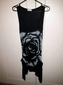 Rose design black dress, size 14.