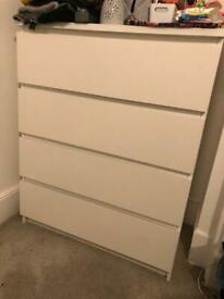 IKEA Malm White Chest of 4 Drawers