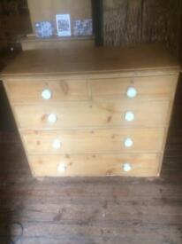 Victoria pine cottage chest of drawers with white China handles