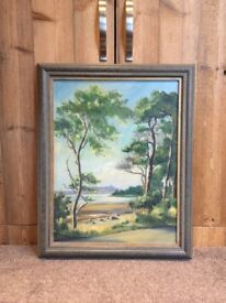 Original oil painting of Scrabo Tower and Strangford Lough by Allan Ardies