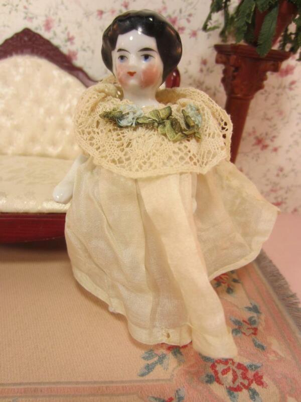 """*Antique Frozen Charlotte Dollhouse Sz 4"""" Doll Silk Dress - Germany, Early 1900"""