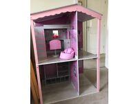 Designafriend Dolls House with bedroom and desk furniture sets