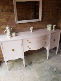 Pink vintage French chateau mirror sideboard buffet dressing table dresser cabinet shabby chic