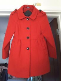 Reduced Girls red coat,age 8/9
