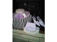 Lilac Hat/shoes/clutch bag
