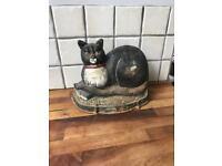 REDUCED Large Cast Iron Sitting Cat Doorstop