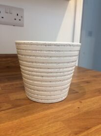 White and grey flower pot