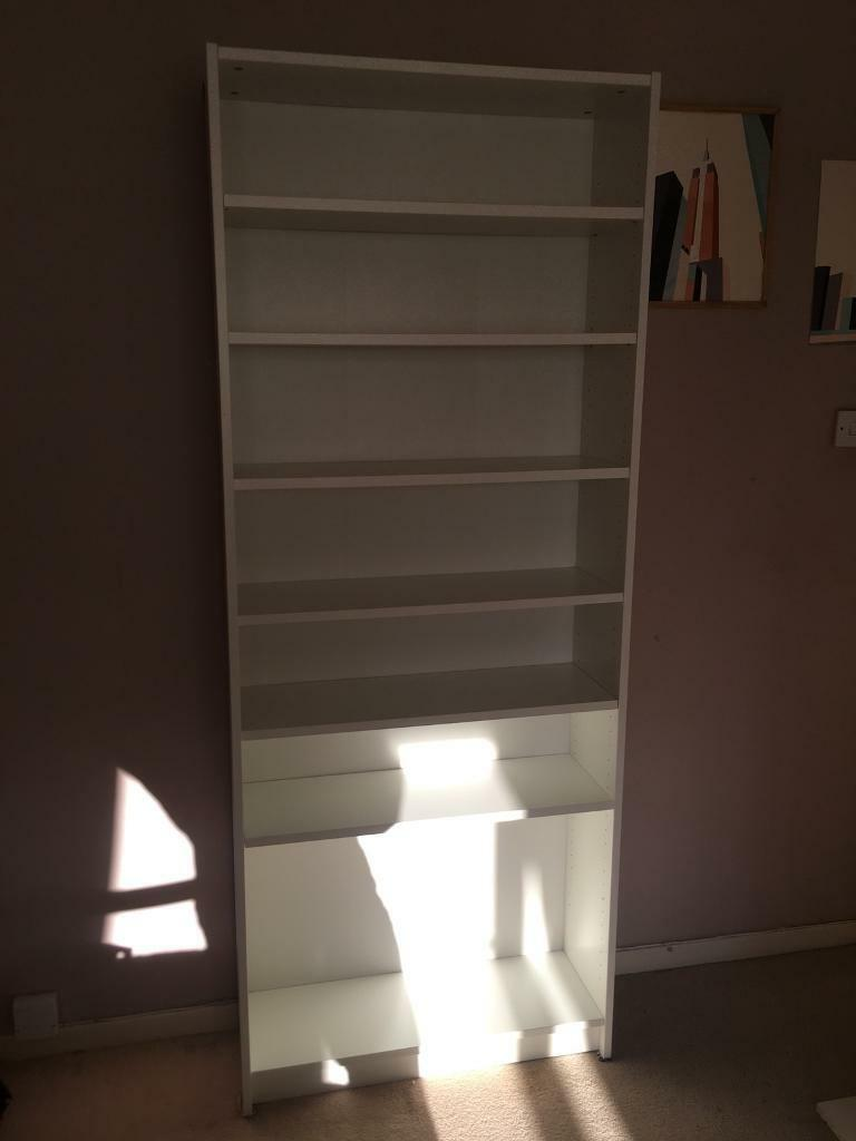 Tall White Bookcase Shelving Unit With 6 Moveable Shelves