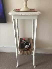 Oak occasional table / plant light stand chalk painted white shabby chic