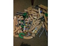 Box full of early learning wooden train set