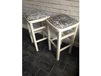 Pair of Hand painted bar stools. Kitchen, dining room