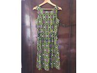 Lime Green and Purple A line Dress