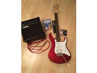 Yamaha Pacifica Guitar with Yamaha GA15II Amp(opt) w/ AUX cord featuring accessories - ALL: £165